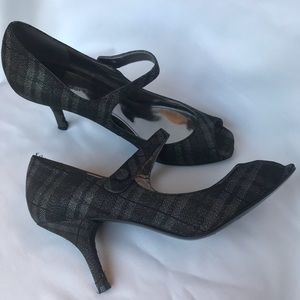 *MARC FISHER* Gray/Black Plaid Sparkle Mary Janes